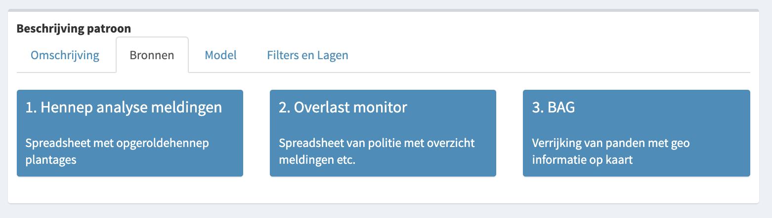 Screenshot prototype Ondermijning met beschrijving datasets en indicatoren